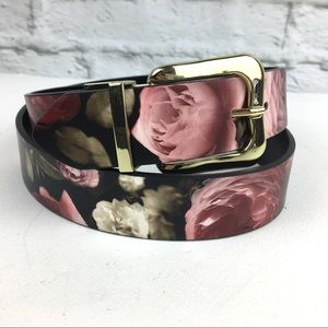 Steve Madden reversible pant belt women's L floral